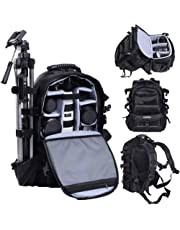 UNHO Professional Camera Backpack Waterproof Camera Bag with Padded Dividers Tripod Holder for Sony Canon Nikon SLR/DSLR Cameras Lens Accessories
