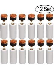 Puntali da biliardo rigidi da 12 mm Punte di ricambio avvitabili in ottone con puntali per stecca da biliardo per biliardo biliardo (set di 12 set di puntali marrone duro)