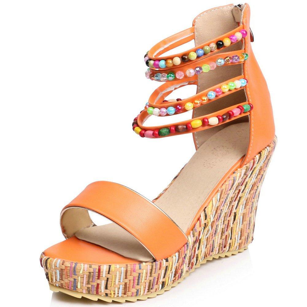 Women Wedge Sandals Fashion Platform Open Toe Summer Bohemia Strap Beaded Beads Espadrille Shoes B07CSLLTJC 5.5 B(M) US|Orange