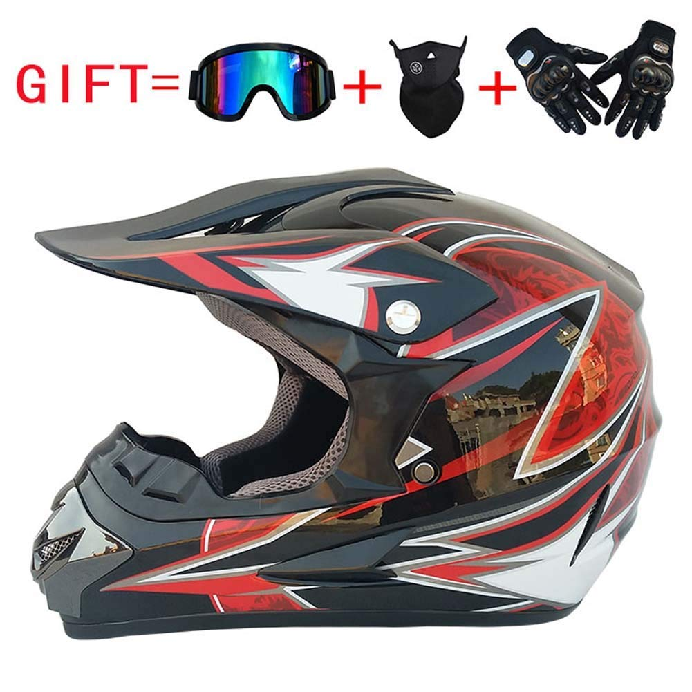 Adult Motorbike Helm, Full Face Helmet Off-Road Anti-Kollision Helm Kit Give Goggles and Bicycle Handschuhe Staubmaske