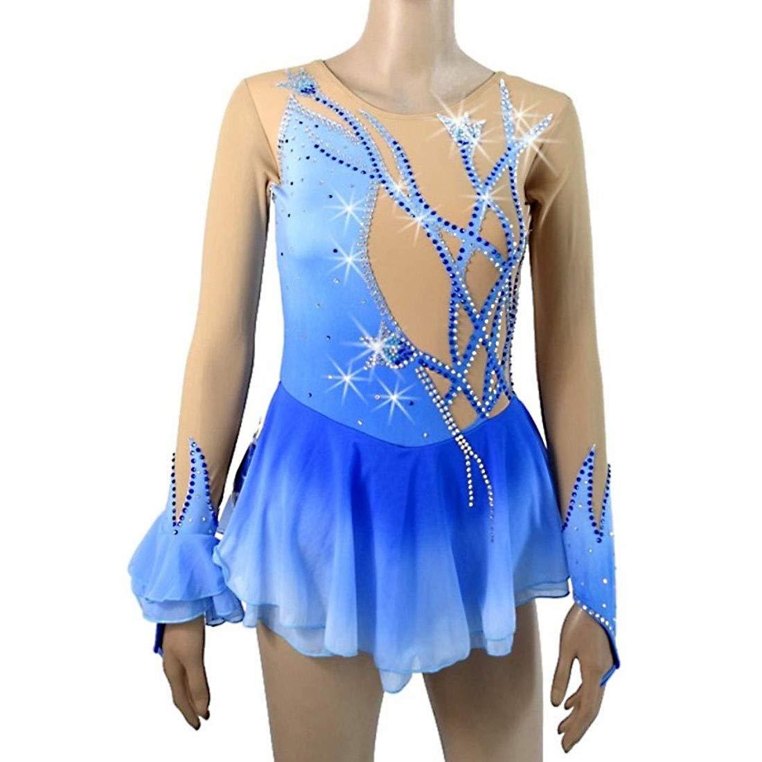 女性の女の子のためのアイススケートドレス、青フィギュアスケートドレス汗発散アイスダンスドレスコンクールドレスローラースケートスカート長袖 ブルー S