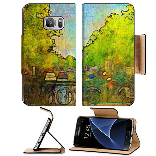 Liili Premium Samsung Galaxy S7 Flip Pu Leather Wallet Case oil painting of amsterdam canal early morning Photo 6997595 Simple Snap Carrying