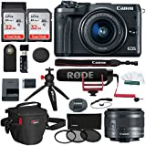 Canon EOS M6 Mirrorless Digital Camera, 15-45mm Lens Video Creator Kit, Sandisk 32GB Card, Photo Pack, Tabletop Tripod, Wireless Remote Control, Filter Kit, Card Reader and Accessory Bundle