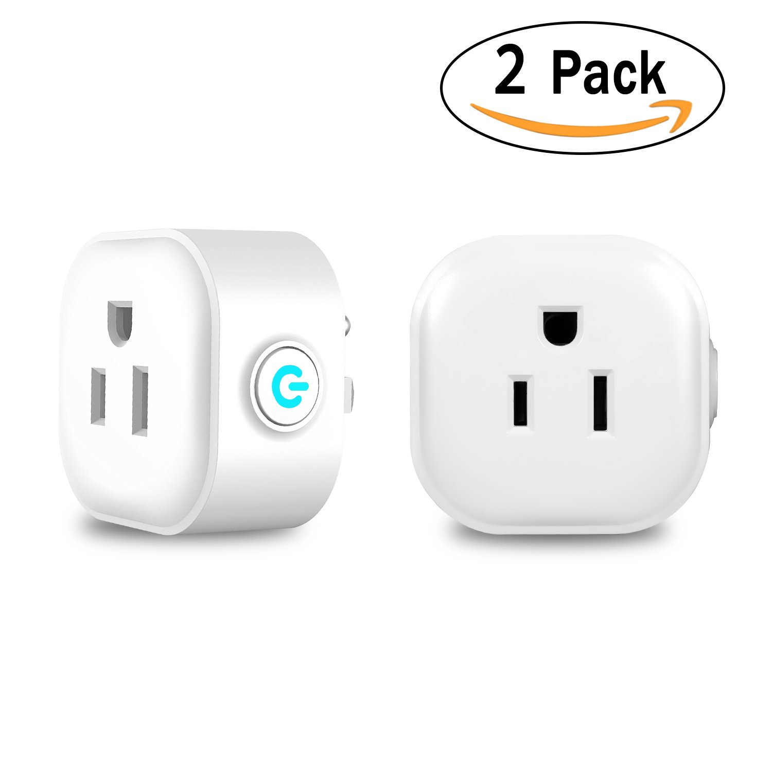 Wi-Fi Smart Plug, Mini Outlets Smart Sockets Works with Amazon Alexa and Google Assistant, No Hub Required, Remote Control Your Devices from Anywhere-by KaiBodi 2 Pack