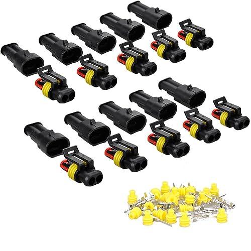 IMAGINE 10 juegos 1/2/3/4/5/6 pines Clavija Conector electrico Impermeable Conector Enchufe para coche camión automático barcos (2 Pines Amarillo Sello)