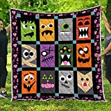 Monster Quilt Pattern Blanket All-Season Quilts Comforters with Reversible Cotton King Queen Full Twin Size Quilted Campers Gifts RV Camping Lovers