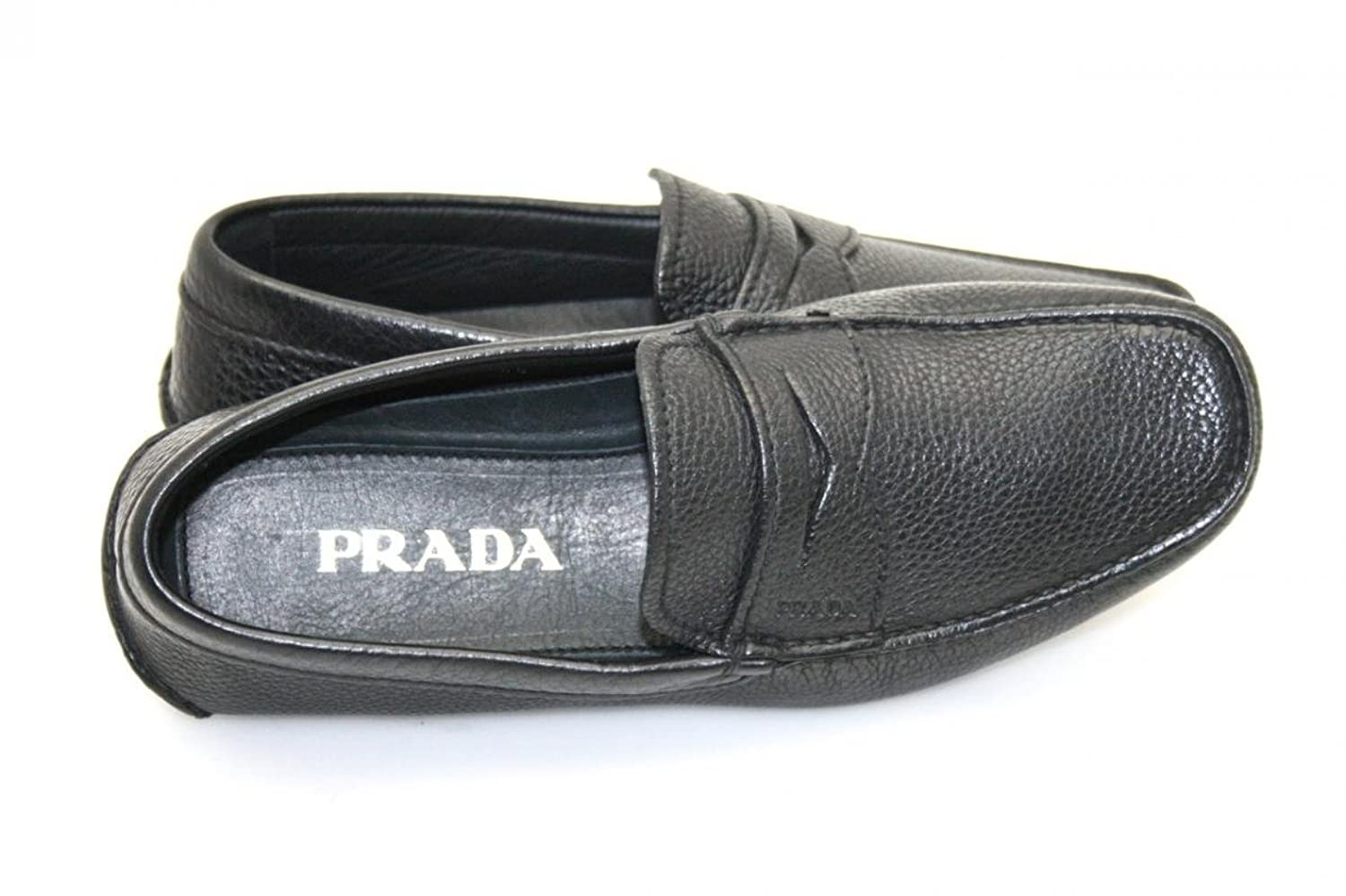 8eb9fe84d3b5 ... get amazon prada mens 2d1102 black leather loafers eu 5.5 39 5 us 6.5  loafers slip ...
