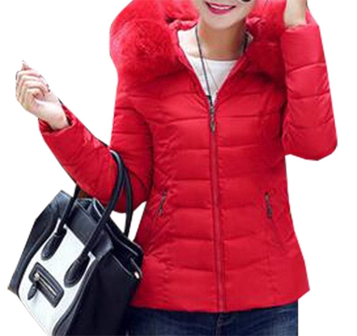Red Sanderso Women's Padded Jacket, Thicken Faux Fur Down Winter Outwear Warm Overcoat