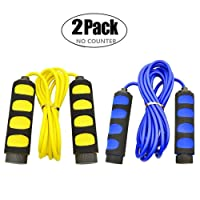 KINGSOO Jump Rope Kids 2 Pack Speed Jump Rope Adjustable Lightweight for Heart Boxing...