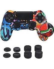 PS4 Funda para Cubrir el Mando de PS4 con 4 Grips para Pulgares, Funda Antideslizante de Silicona, Carcasa Protectora para Mando de Sony PS4 / Slim/Pro