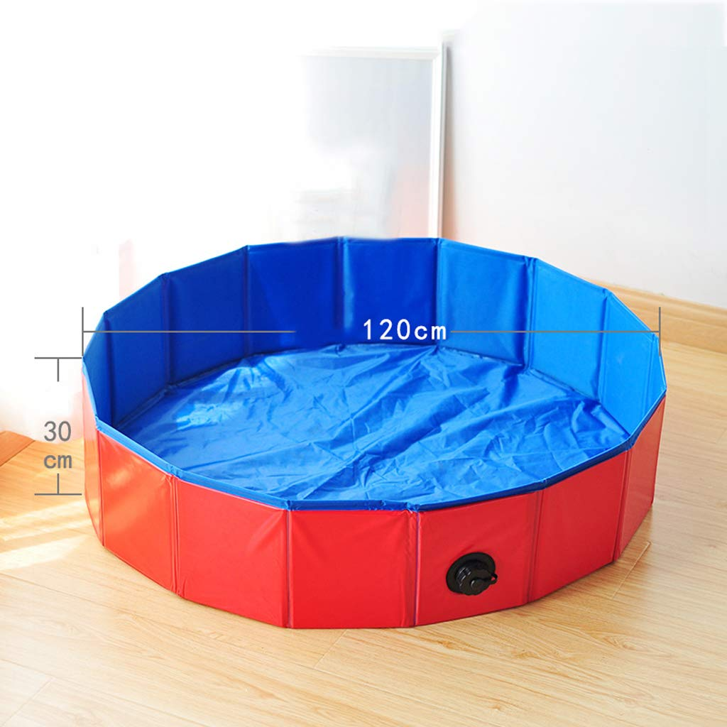 120x30cm Foldable Pet Dogs Cats Paddling Pool Puppy Swimming Bathing Tub in Different Size for swimming, playing, bathing(120x30cm)