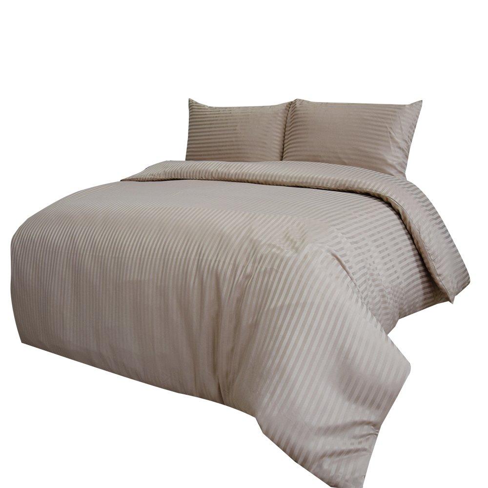 Merryfeel 2-3 teilige Satin Bettwäsche Bettgarnitur, gestreift Mikrofaser Bettbezug & Kissenbezüge,4 Größen,14 Farben - Khaki 230x220cm