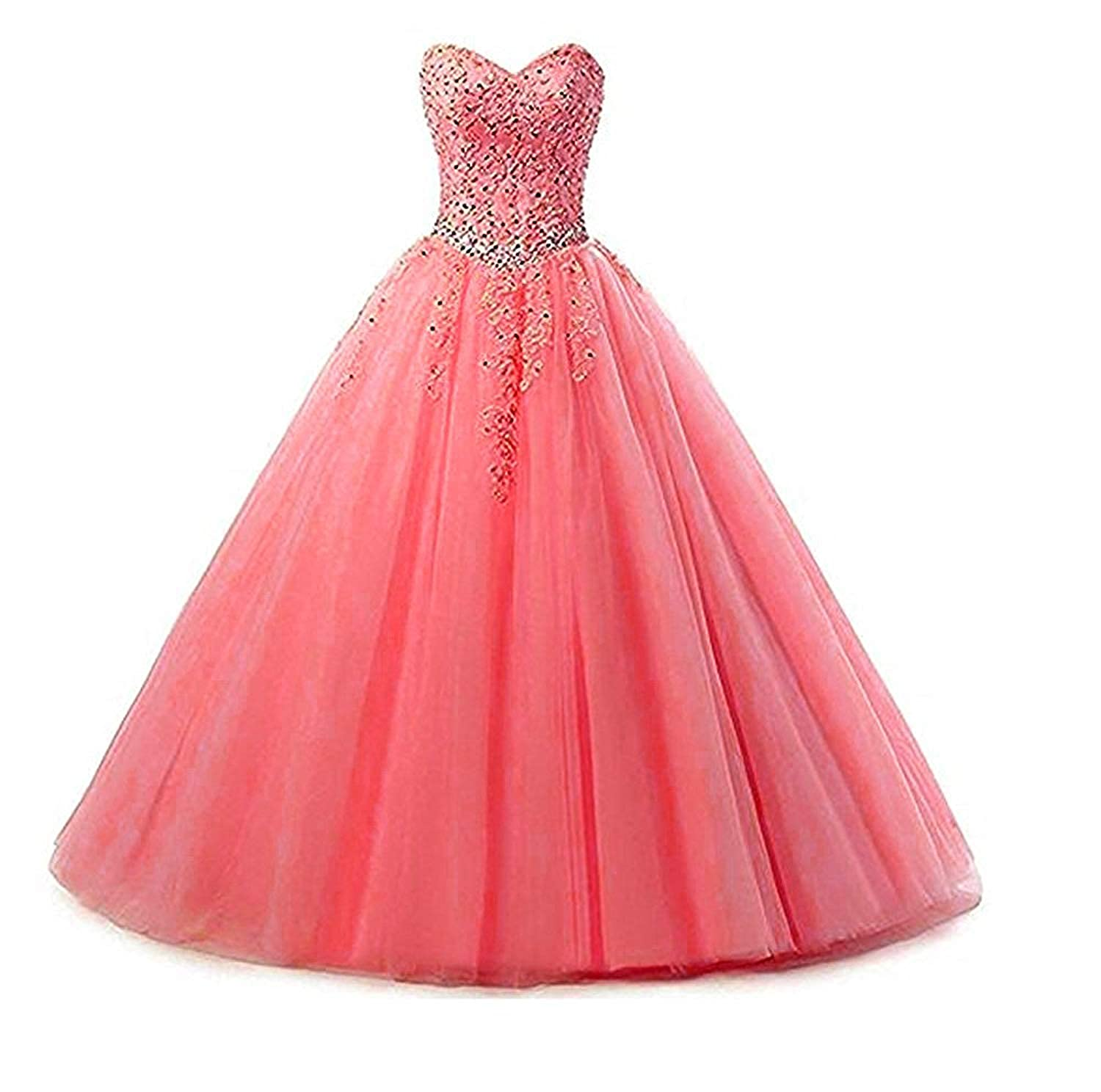 Style2watermelon Liaoye Women's Sweetheart Appliques Quinceanera Dress Tulle Wedding Ball Gown