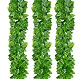 YSBER 12pcs 83 Feet Artificial Ivy & Silk Fake Ivy Leaves Hanging Vine Leaves Garland for Wedding Party Garden Wall Decoration (Green Radish Leaves)