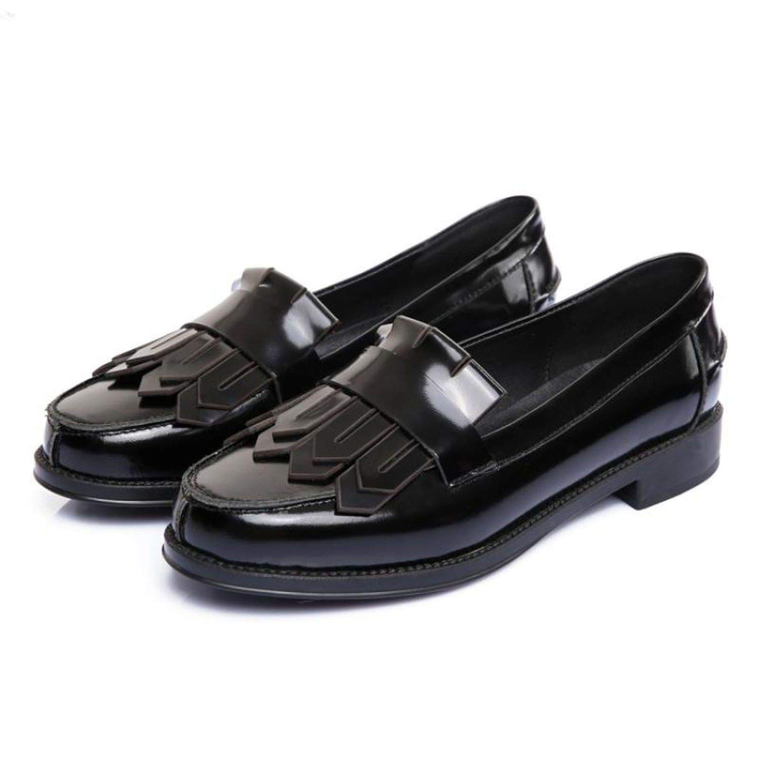 Black fly-consciousness Winter Low shoes Peas Toe Layer Cowhide Rubber Microfiber Leather Microfiber