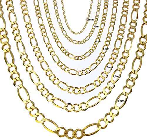 10K Solid 5mm Yellow Gold Figaro Chain 18
