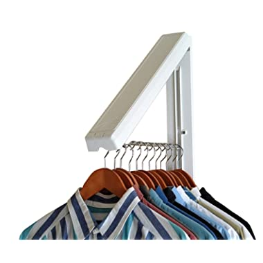 InstaHanger, The Original, Folding Wall Mounted Clothes Storage Drying Rack, ABS Plastic with Stainless Steel Rod, for Laundry/Heavy Duty Clothes Storage, White