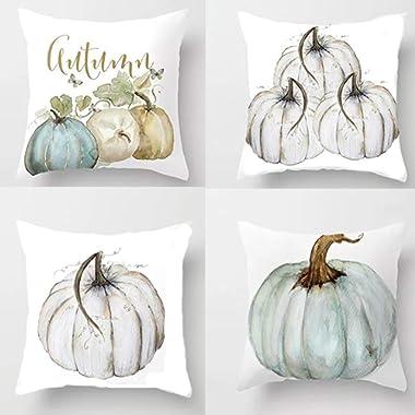 Ownest 4 Pack Autumn Pillow Case Pumpkin Throw Pillow Cover,Halloween Thanksgiving Decoration Cotton Blend Cushion Cover,18×18 with Hidden Zippered