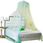 Housweety New Round Lace Curtain Dome Bed Canopy Netting Princess Mosquito Net (Aqua Green)