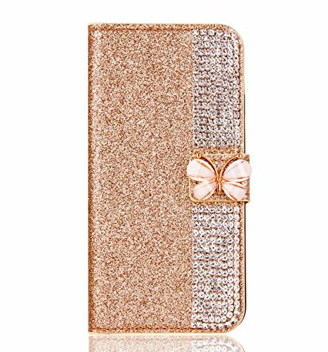 Superstart Gold iPhone 6 Plus/6s Plus 3D Handmade Beauty Butterfly Rhinestone Diamond Case for iPhone 6 Plus/6s Plus Bling PU Leather Flip Stand Credi…