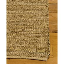 NaturalAreaRugs Tamil Jute Leather Rug, Crafted by Artisan Rug Makers, Imported, 6' x 9'