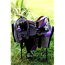 "15"" Western Cordura Trail Barrel Pleasure Horse SADDLE Bridle Tack Purple 4985"