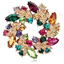 Kemstone Rose Gold Plated Colorful Cubic Zirconia Flower Brooch Pin for Women