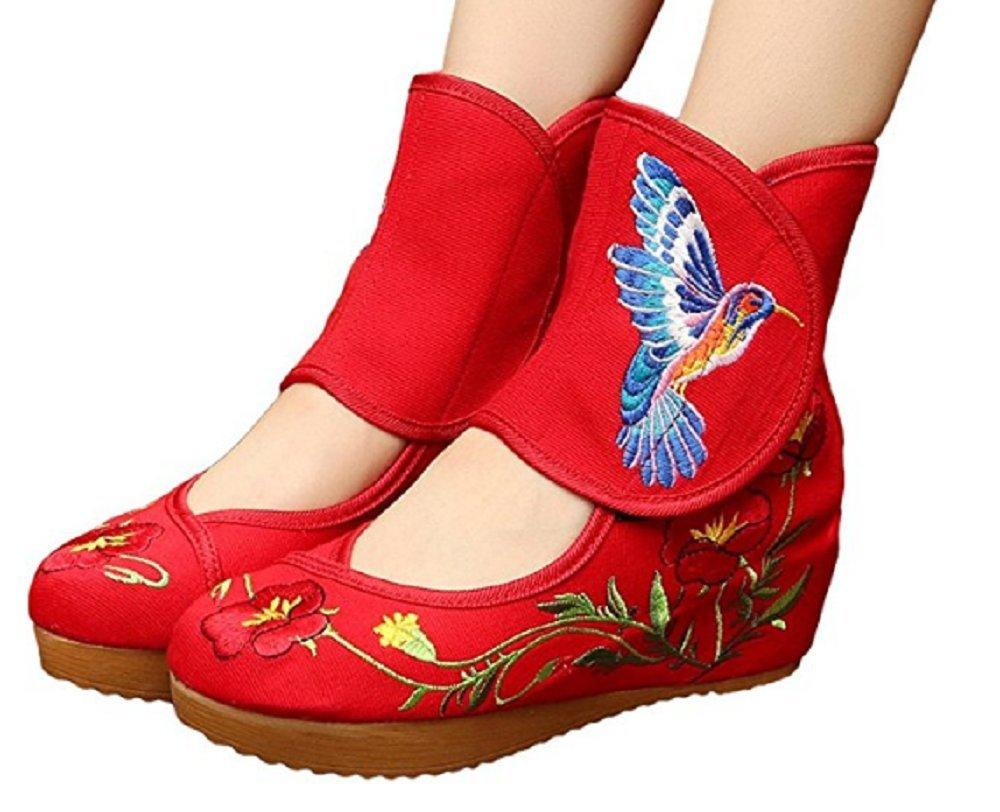 Tianrui Crown Ladies and Womens Hummingbird Embroidery Classy Platform Velcro Dancing Shoes B01N1MN7N0 7.5 B(M) US Red