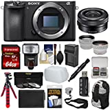 Sony Alpha A6500 4K Wi-Fi Digital Camera Body with 16-50mm PZ Lens + 64GB Card + Backpack + Flash + Battery & Charger + Tripod + Kit