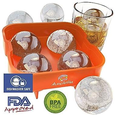 Aunchitha Ice Ball Maker - Mold Makes 4 X 4.5 cm Ice Spheres