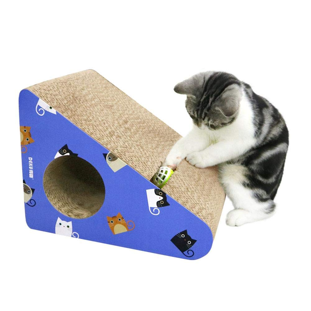 Nicemeet Corrugated Paper cat Scratch Board, Triangle with Bells ramp Claws cat Toy bluee