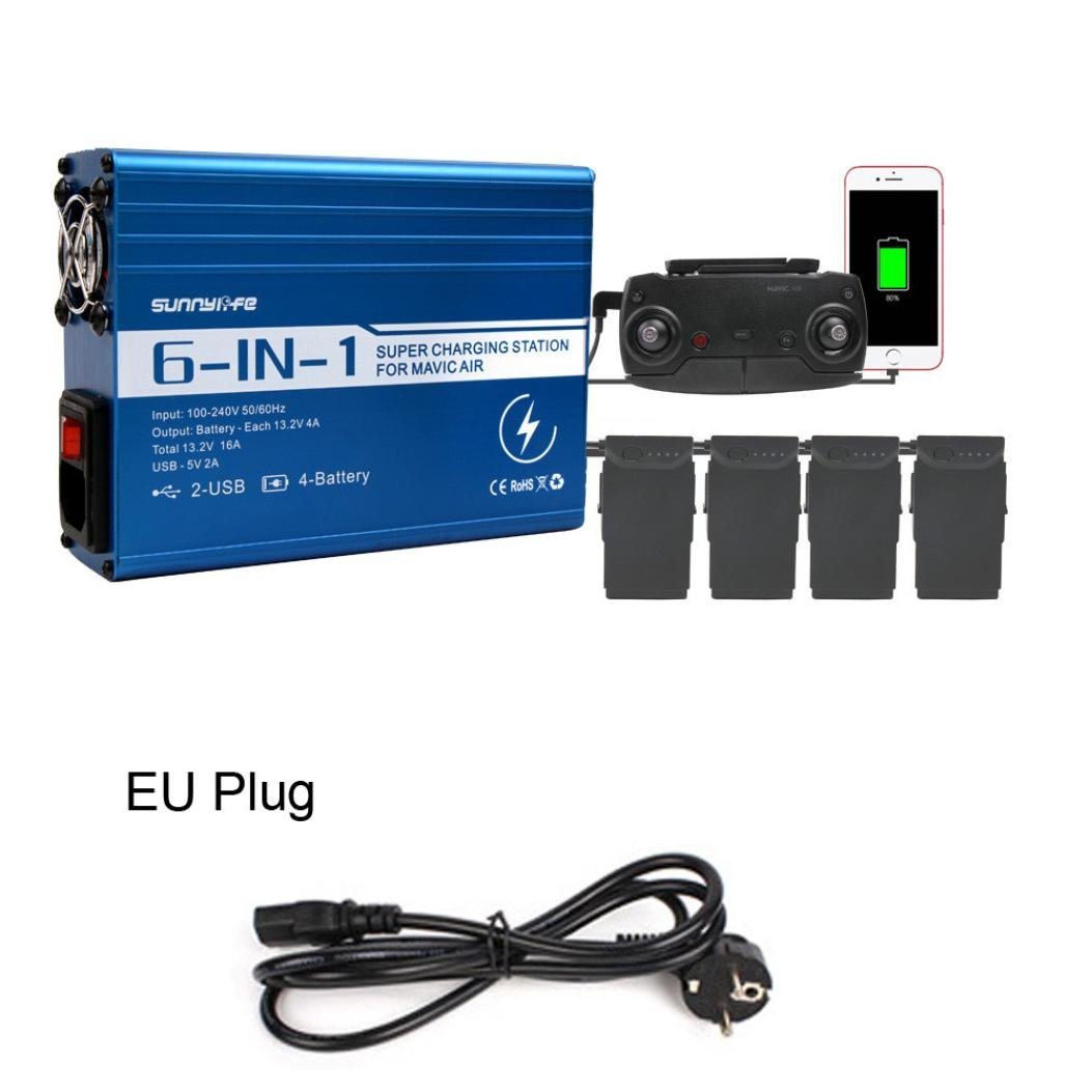Fami-6in1 Caricabatterie Telecomando Caricabatterie Dual USB per DJI Mavic AIR (EU Plug)