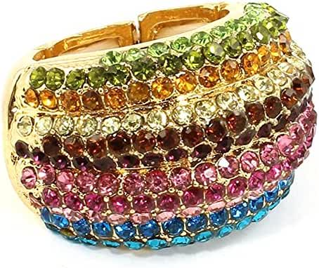 Glamorous Dome Shaped Cocktail Statement Ring Purple, Green, Pink, Yellow, Blue Crystals Stretch Band