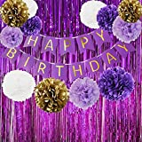 Happy Birthday Bunting Banner Purple Birthday Party Decorations Set Purple Gold White Tissue Paper Pom Poms Paper Flowers and Set of Shiny Purple Foil Fringe Curtain