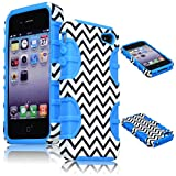 BastexWireless Bastex Hybrid Case for Apple iPhone 4, 4s - Baby Blue Silicone with Hard Black & White Chevron Pattern Shell