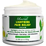 Ebanel Pain Relief Cream, 2.28 Oz Arnica Menthol Arthritis Pain Relief Muscle Rub with MSM, Emu Oil, Hemp Oil, Anti Inflammat