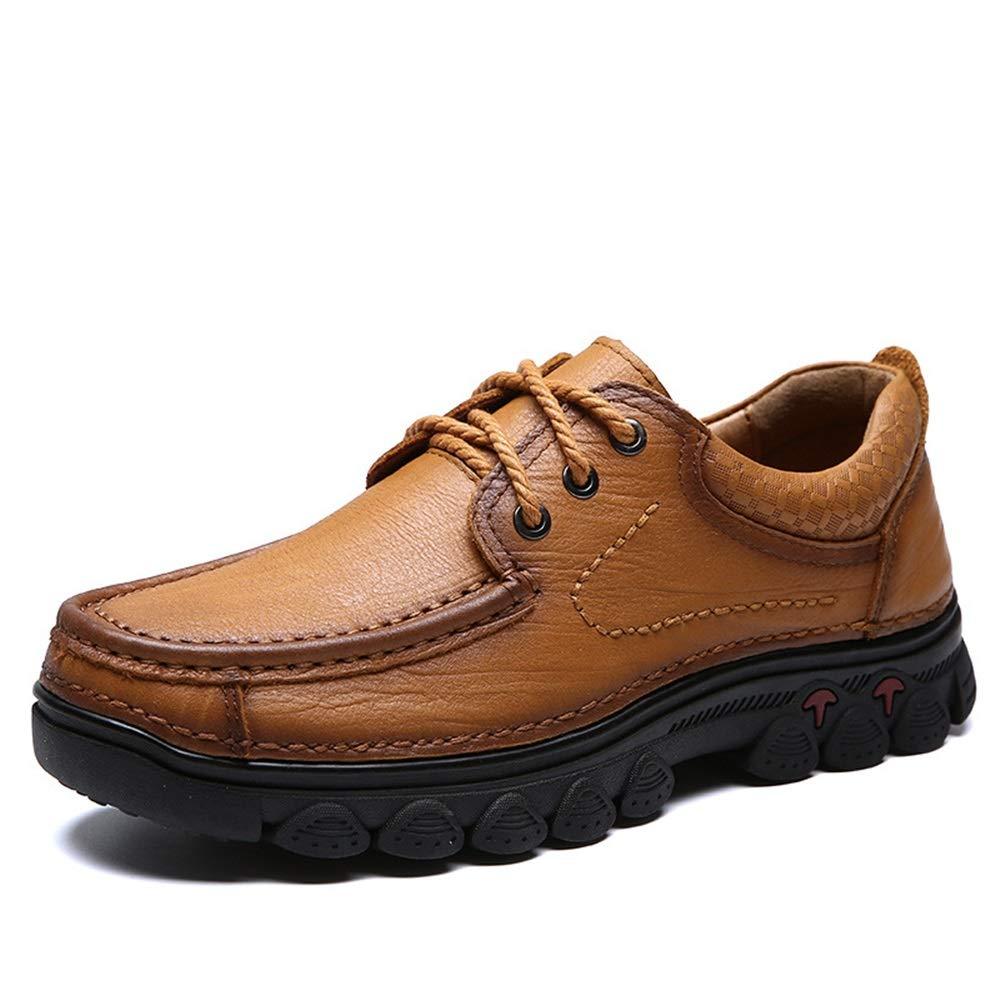 Qiusa Outdoor Wanderschuhe für Männer schnüren Rutschfeste U-Spitze weiche Sohle Bequeme Rutschfeste schnüren Sneaker (Farbe : Schwarz, Größe : EU 42) Khaki 077ffc