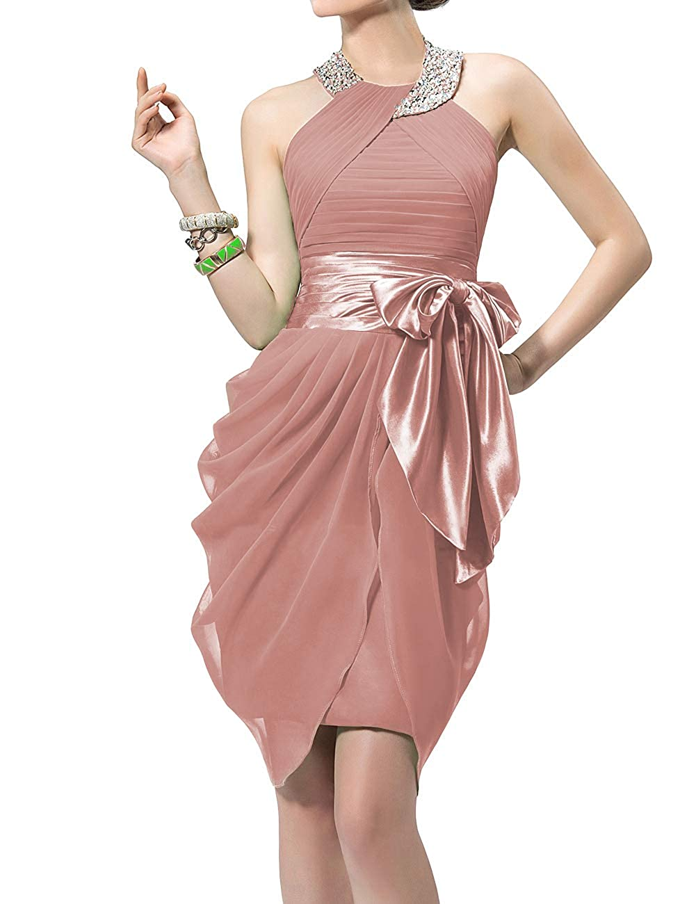 bluesh Uther Halter Cocktail Dress Short Formal Party Gowns Beaded Pleats Bridesmaid Dresses