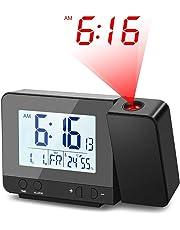 Deofde Réveil avec Projection, Réveil Projecteur Digital avec Grand Affichage LCD, Réveil Projection Plafond, Horloge Numerique avec Double Alarmes, Fonction Snooze, Thermomètre Intérieur