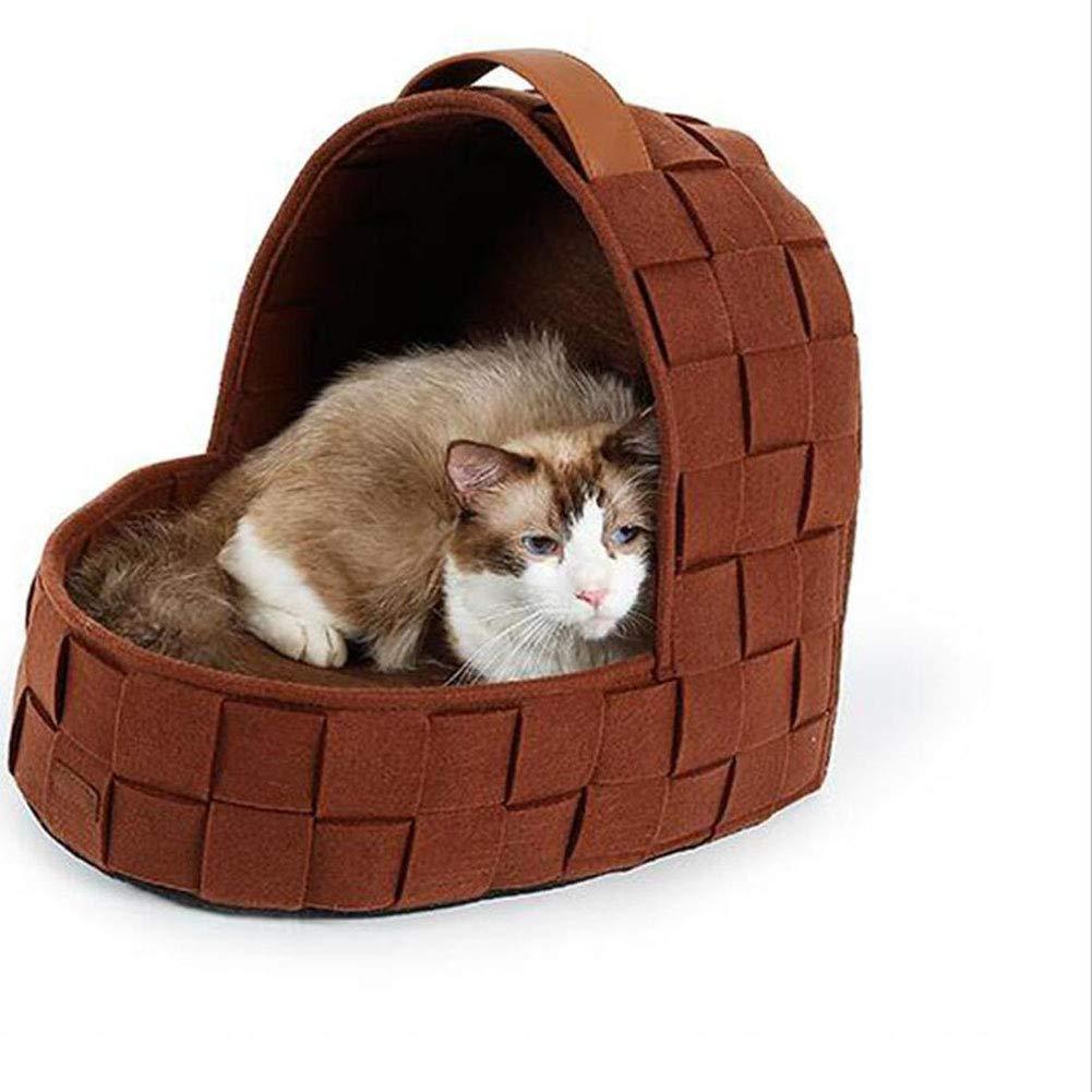 JiuErDP Lettiera per Gatti con Nido d'uccello Tessuti a a a Mano Giardino Letti per Gatti casa per Cani Caldo Inverno Lavabile Materasso (colore   Marronee) 0f3961