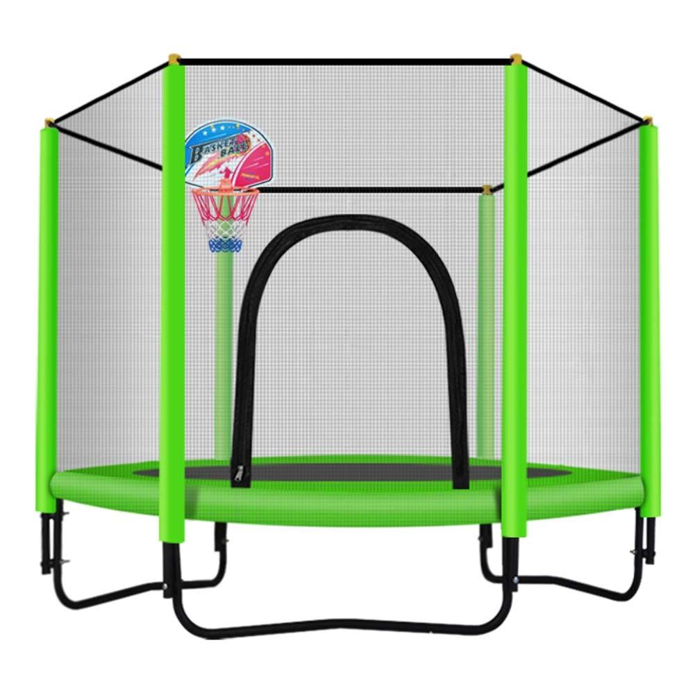 Trampolin, Trampolin für Kinder 150cm Indoor/Outdoor Trampolin mit Umschließungsnetz Basketballkorb - Max Load 225KG (Farbe : Grün)