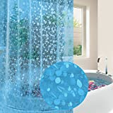 EVA Shower Curtain Liner with Free Metal Hooks, Mold&Mildew Resistant Waterproof Anti-bacterial Feagar 72x72-Inch-PVC Free, Non Toxic, Eco-Friendly, Bathroom Curtains (Blue)