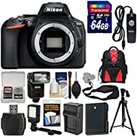 Nikon D5600 Wi-Fi Digital SLR Camera Body with 64GB Card + Case + Flash + Battery & Charger + Tripod + Remote + Kit