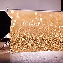 OMG_Shop 5x7FT Gold Glitter Sequin Spot Background Backdrop Vinyl Photography Studio Prop