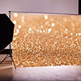 DODOING 5x7ft Vinyl Gold Sequin Bokeh Glitter Photo Backdrop, Wedding Photo Booth Props, Photography Background, Birthday Party Ceremony Background, Studio Props Backdrop