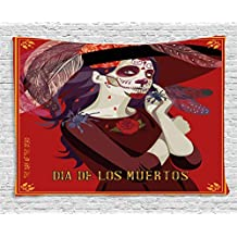 Day Of The Dead Decor Tapestry by Ambesonne, Skull Dead Corpse Cute Girl with Hat and French Dress, Wall Hanging for Bedroom Living Room Dorm, 60WX40L Inches, Maroon Ruby and Burgundy