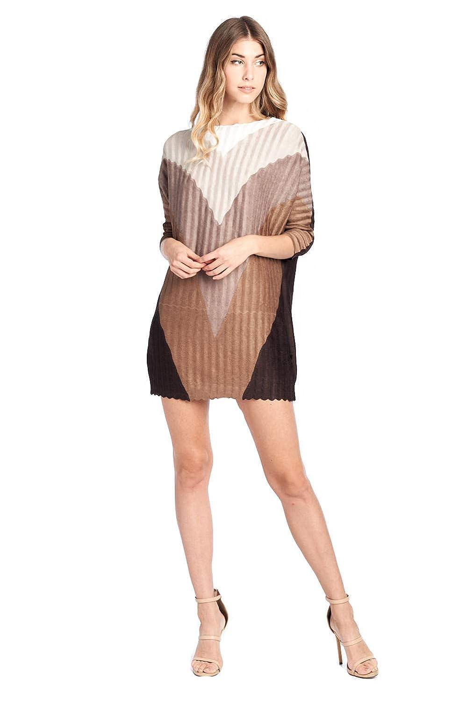 Nabisplace Women's Pleated Adede Pattern Dress Brown 16520