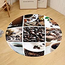 Gzhihine Custom round floor mat Collage of Coffee and Products Beans Deserts Ice Cream Cinnamon Hot Drink Bedroom Living Room Dorm Dark and Light Brown