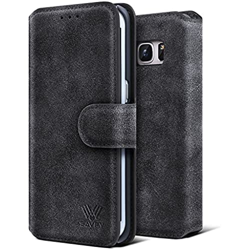 Galaxy S7 Edge Case, SAVFY Stand Feature [Black] Premium Wallet Case with STAND Flip Cover for Samsung Galaxy Sales