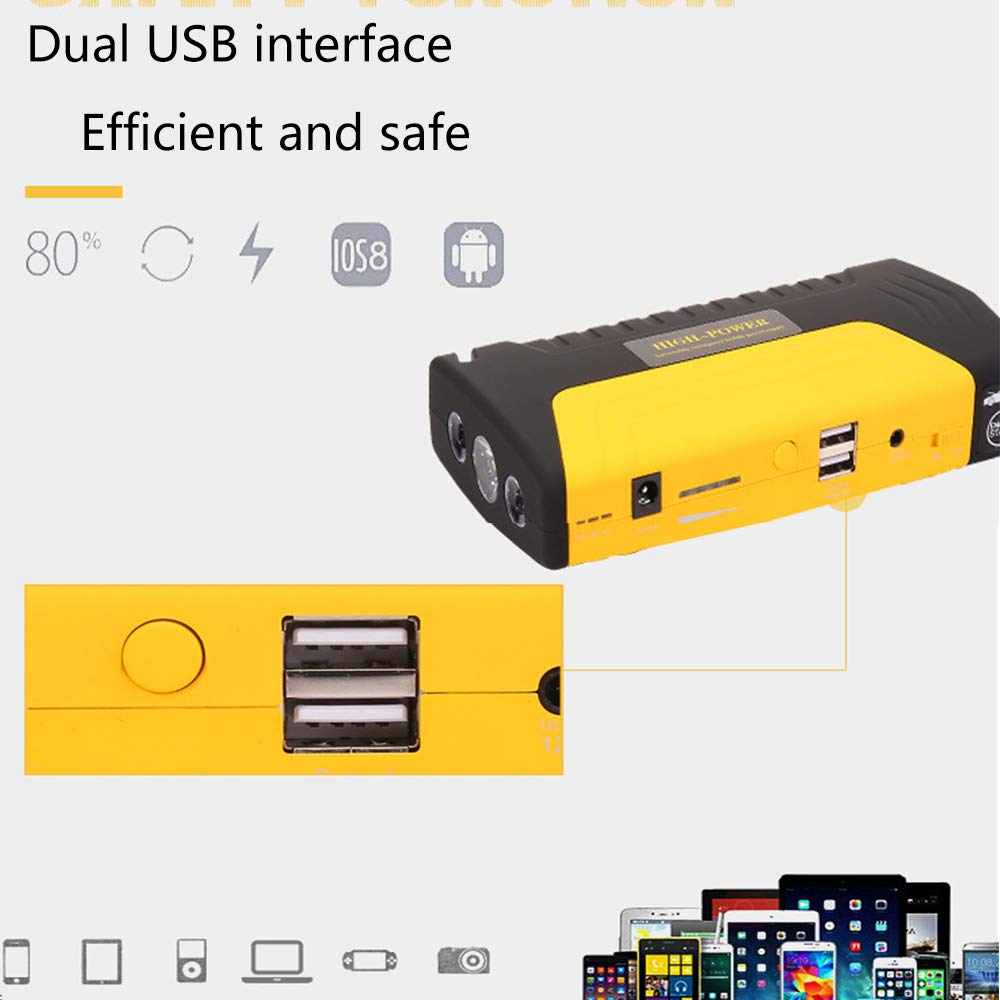 YSY LCD-Anzeige 600 Peak Autostarter, Fahrzeugbatterie 16800mAh Zusatzpaket mit LED-Taschenlampe, LCD-Anzeige YSY und 12V-Luftkompressor dbdc3d